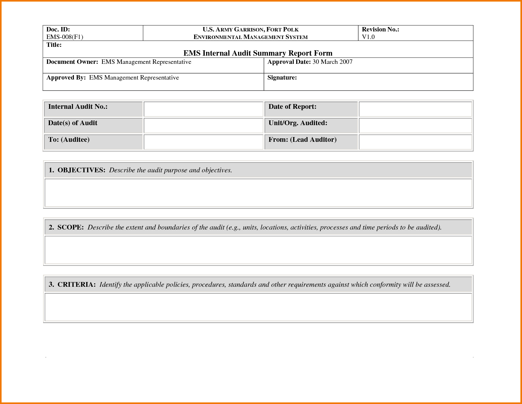Example Safety Audit Report and 35 Excellent Audit Report form Template Examples Thogati